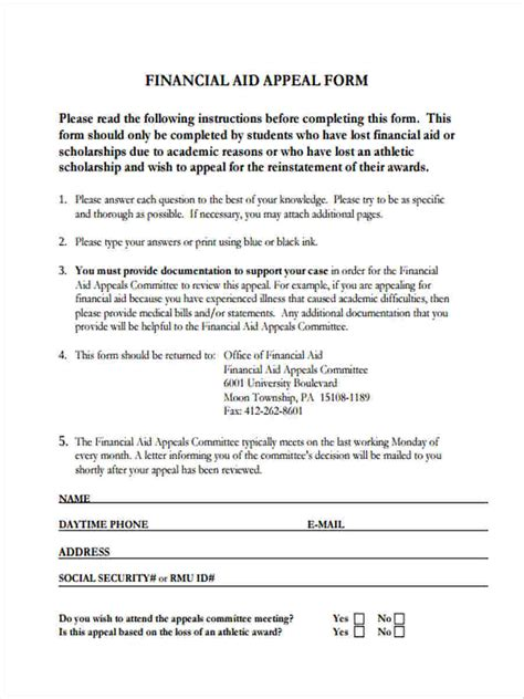 financial aid forms   ms word
