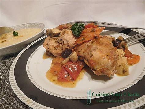 cuisine le lapin lapin en sauce aux olives accompagné de polenta crémeuse
