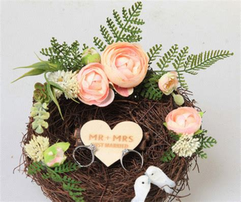 customized wedding ring holder rustic photoshoot