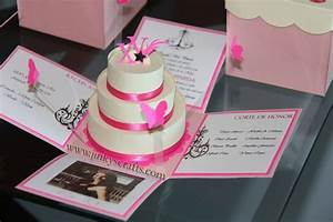 pink creme mis quince exploding box pop up invitations With diy wedding invitations in a box