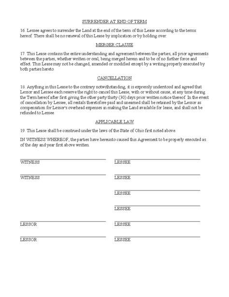 hunting rental  lease form ohio