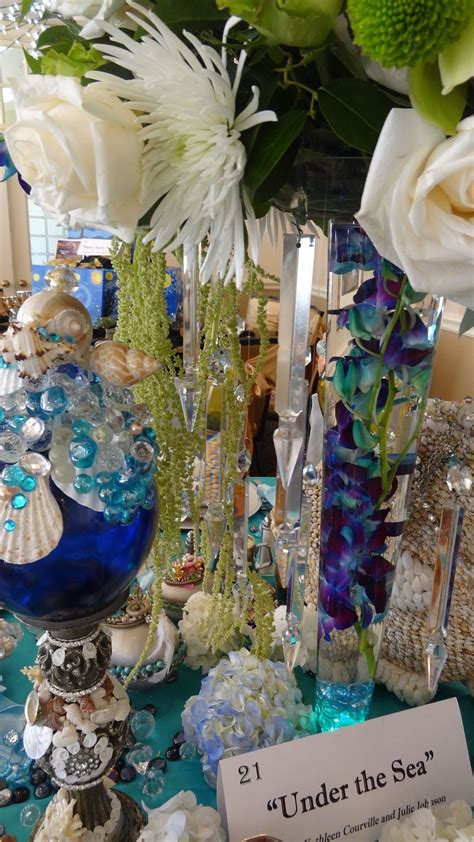 Under The Sea Table Scape And Florals Wedding Flowers Blue