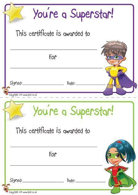 printable superhero certificates   super kids
