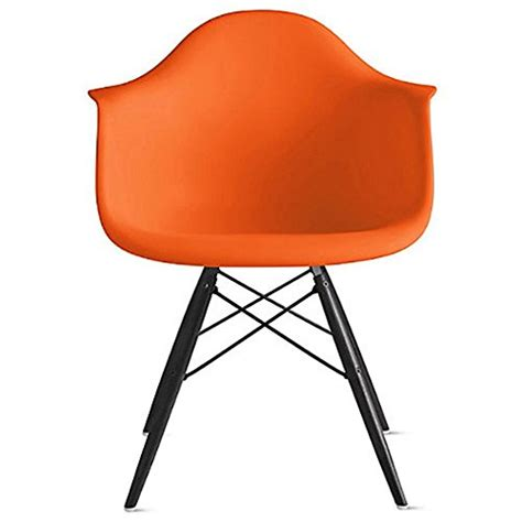 2xhome orange eames style armchair black wood