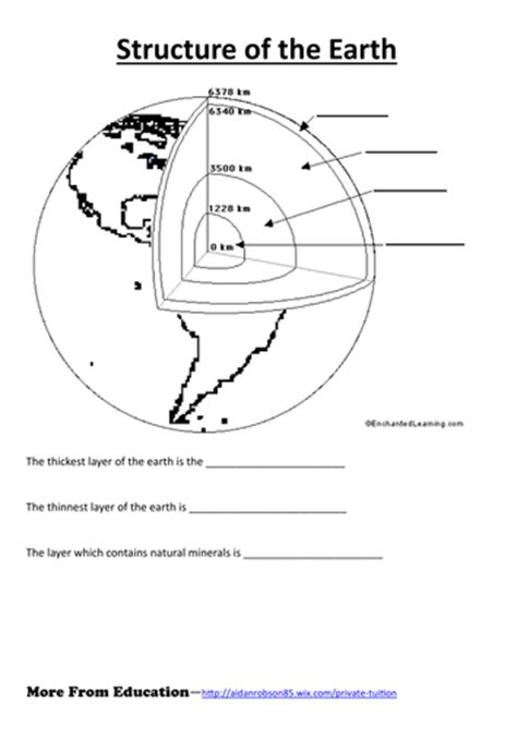 simple worksheet  structure   earth teaching