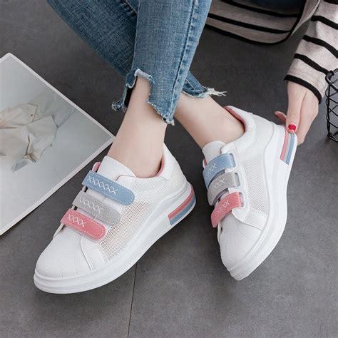 sepatu warna putih casual breathable shoes shopee