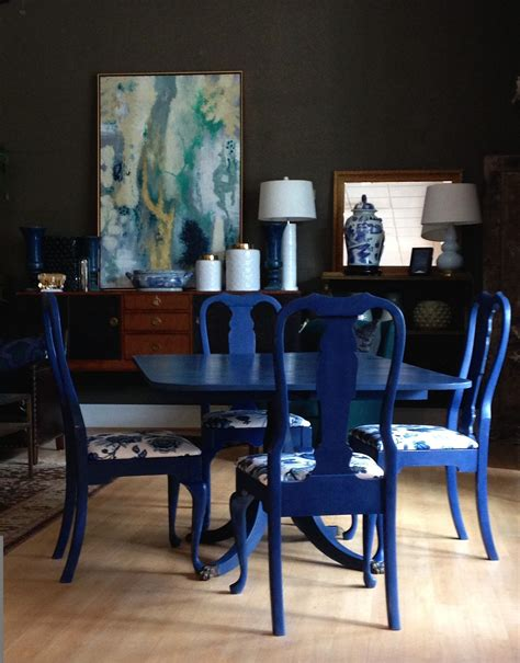 navy blue kitchen table set dining room set painted by unique with sloan