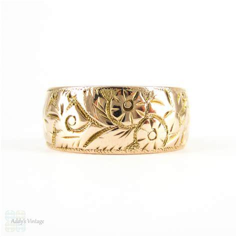 antique wide ct wedding ring wide foliate design engraved