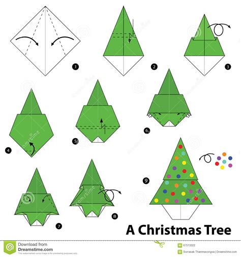 origami christmas decorations step by step step by step how to make origami a tree stock vector illustration of