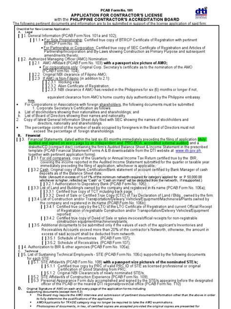 dti application  contractors license identity