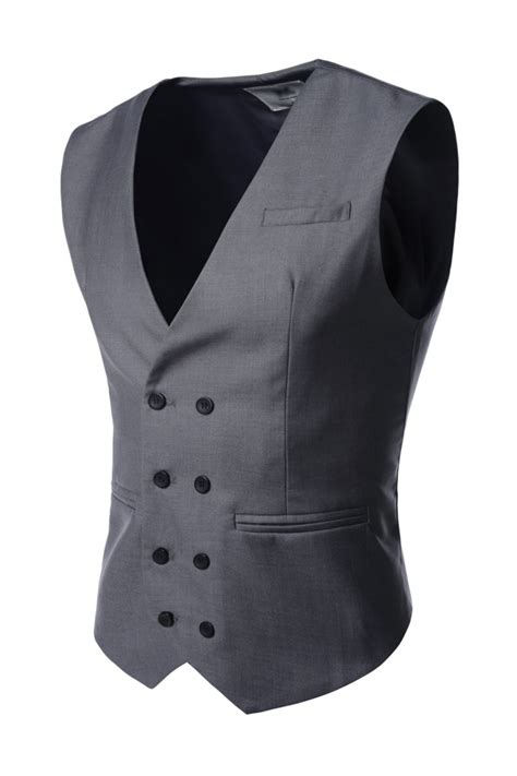 mens gray double breasted  button business suit vests