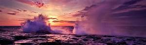Water ocean clouds nature sun waves dusk multiscreen ...