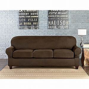 Sure fitr vintage faux leather individual cushion 3 seat for Sofa slipcovers for leather furniture