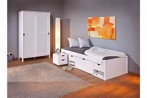 lit en bois avec 4 espaces de rangement blanc 90x200 kolo With déco chambre bébé pas cher avec envoi fleur internet