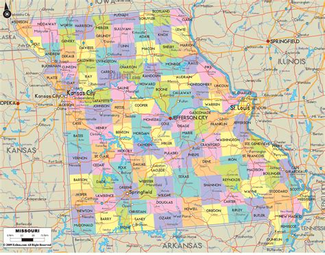 political map  missouri ezilon maps