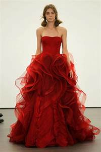 vera wang sees red for spring 2013 brides onewed With wedding dresses red