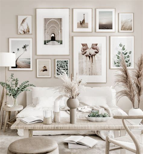 Flower wall decor canvas art for living room decoration framed brown blooming floral prints painting ready to hang beige daffodil peach and lotus petaled with seascape plank background wall pictures artwork (12×16inch×3panels). Beige gallery wall mindfulness posters nature posters oak frames | Wall decor living room, Home ...