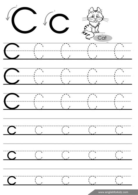 letter tracing worksheets for preschool the c letter