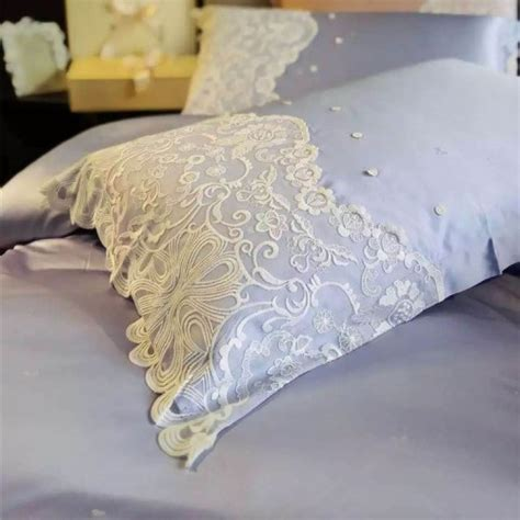 Paris blue Lace Egyptian Cotton Duvet Cover Set