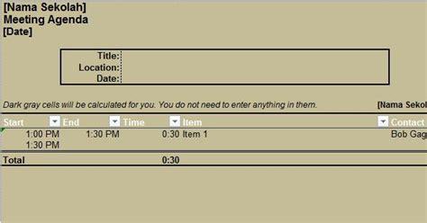 aplikasi agenda rapat  excel gratis file