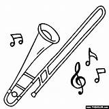 Trombone Coloring Pages Instrument Drawing Instruments Musical Piccolo Tenor Trombones Bass Jazz Results Sketch Getdrawings Template sketch template