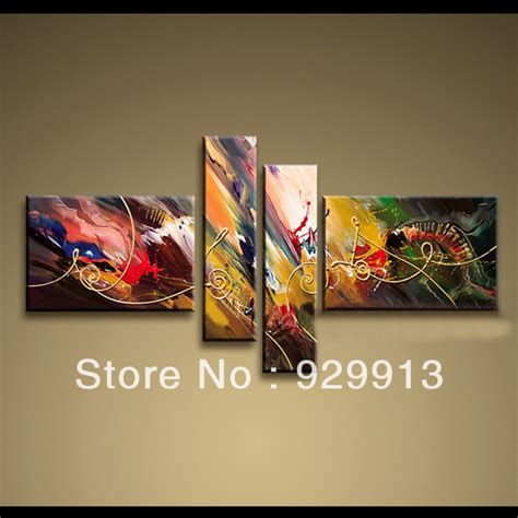 High End Wall Decor by 2013 New Design Framed 4 Panels 100 Handpainted High End