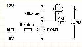 schematics correct way to add high side transistor to With driving nchannel mosfets with a microcontroller