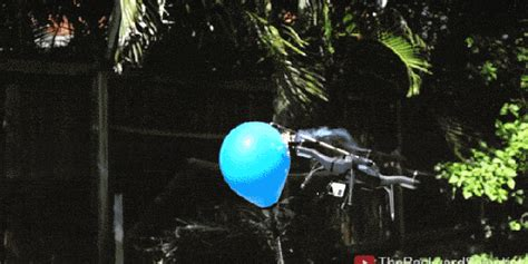 flaming quadcopter hits  propane filled balloon