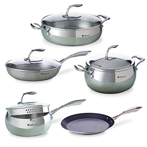 tupperware cookware chef series steel stainless saucepan pc strainer pots washing qt hand chefs dutch pan saucepans serie cm includes