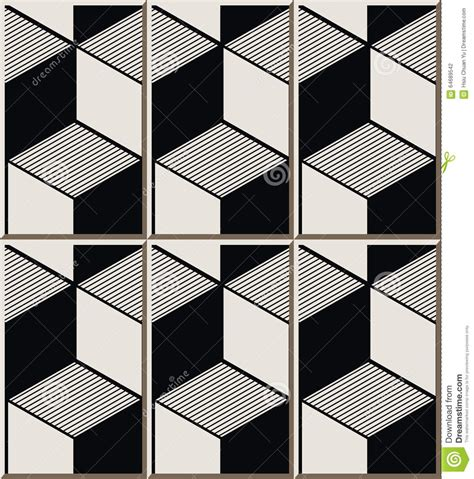 vintage seamless wall tiles of black white cubic line