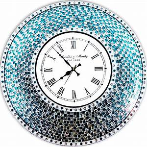 decorshore 24quot silver turquoise mosaic wall clock With kitchen colors with white cabinets with art deco wall clocks large