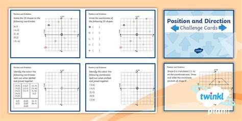 * New * Maths Y6 Position And Direction Challenge Cards