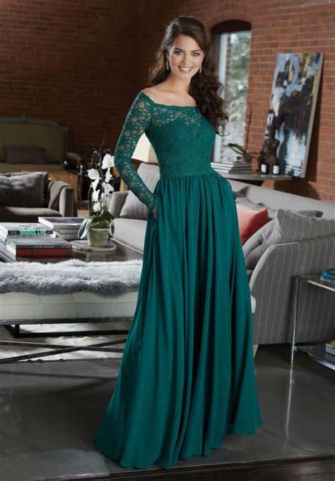 long sleeve lace  chiffon bridesmaid dress style