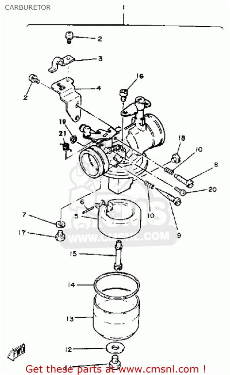 yamaha   golf car  carburetor schematic partsfiche