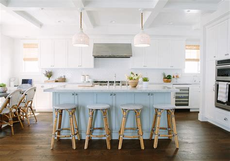 inspiring white kitchen with light blue island home