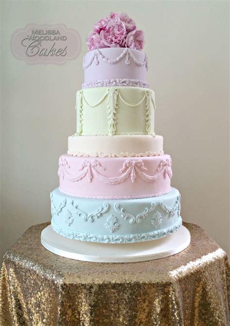 baroque style wedding cake  pastel tones  melissa
