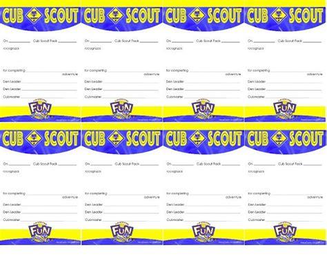 pocket certificate     cub scout