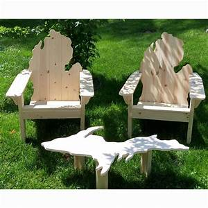 Michigan Adirondack Set - Two Classic Chairs One Table