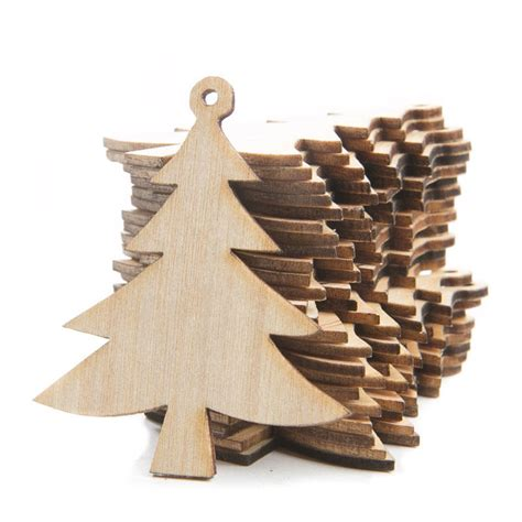 unfinished wood laser cut tree ornaments christmas