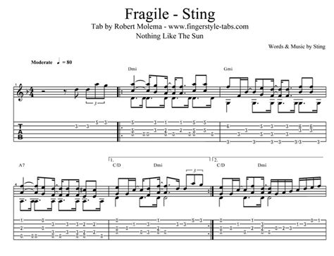 Quality Tab For The Song Fragile From Sting
