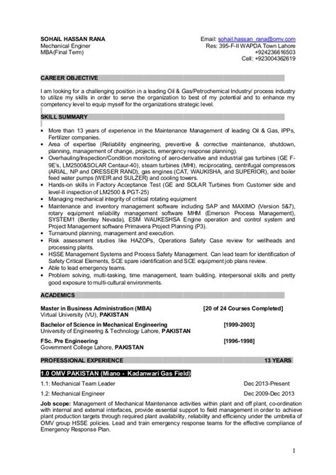 resume for plant maintenance management position