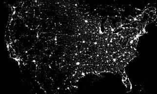 us light pollution map at night