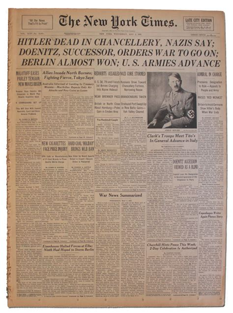 Lot Detail - 'The New York Times'' From 2 May 1945 ...
