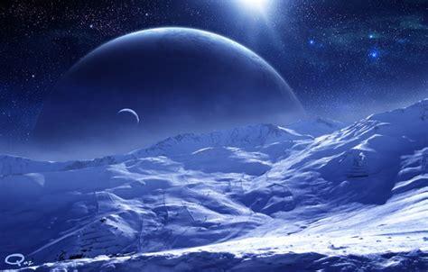 Обои поверхность, планеты, снег, Qauz, арт, спутник