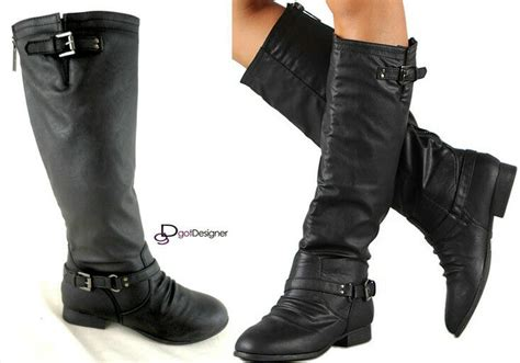 New Womens Fashion Knee High Riding Boots Shoes Slouch