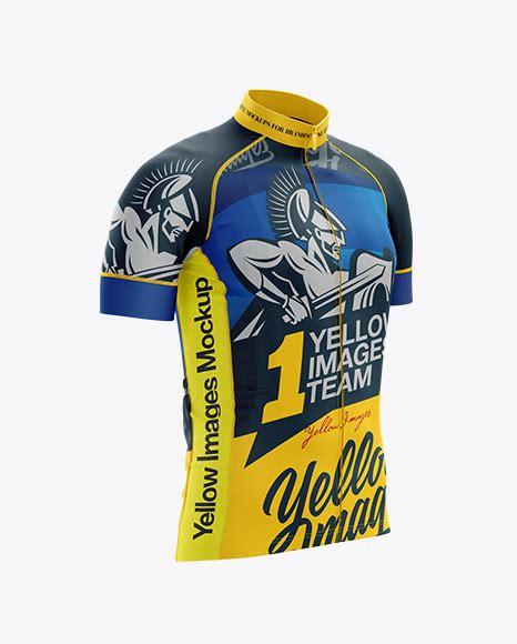 Men's cycling bib shorts psd mockup back view. Men's Cycling Jersey mockup (Right Half Side View) in ...