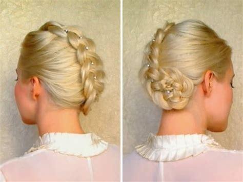 braid updo hairstyles for medium hair tutorial prom wedding hairdo youtube