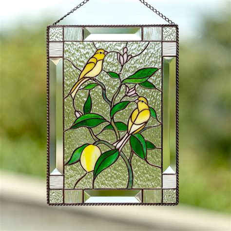 stained glass canary birds sitting   lemon tree panel