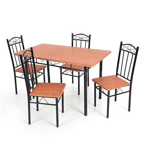 5 dining set wood metal frame table and 4 chairs