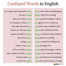 Top 30+ Easily Confused Words In English  Eslbuzz Learning English